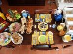 Our generous continental breakfast served on the terrace during summer
