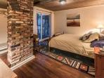 Bedroom with sliding door to steps to beach!