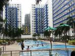 6 Pools 6 mid-rise buildings, great view of the sky.  Jogging trail. Shops