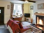 Comfortable lounge with open fire for those cosy nights in, Free view TV & DVD player