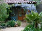 Casita in May with blooming wisteria.