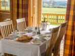 Dining table with lovely views of the Highlands