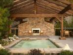 Enjoy the Shared Outdoor Hot Tub and Outdoor Fireplace