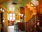 looking towards the kitchen & the stairs to the Master.