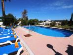 Large private pool with shallow end for children and loungers for all