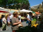 Saturday market near the center of Chania, fresh locally grown fruit and veg, fish, flowers. Fab!