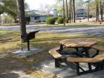 picnic tables and grills on the grounds for your use