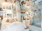 Open concept bathroom.  No privacy.