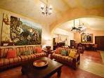 Hacienda Kukulkan Living Room, Dining Room and Bar Area