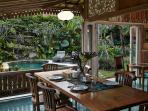 The elevated terrace overlooking the pool is the centre piece of the villa