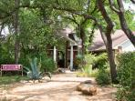 front of house, bench, xeriscape