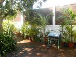 grand deck en bois exotique entouré de palmiers multipliants
