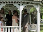Taking wedding vows in the Gazebo.
