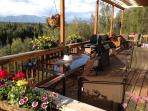 Private deck with BBQ overlooking the lake and panoriamic mountain views.