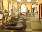 On-site amenities: fitness center and spa