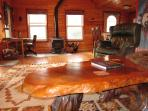 Burl-wood coffee table - OK to put your feet up!