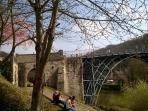 The Iron Bridge near Ironbridge View Townhouse. See the bridge from the armchair and bedroom