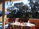 The main terrace with dining table and swing seat Not overlooked with great views