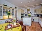 Farmhouse style kitchen, Aga, two double ovens, 8 ringed hob, 2 dishwashers, 2 fridges, seaviews