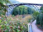The famous iron bridge a short walk away