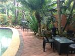 2 seperate outdoor areas around the pool