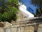 steps toward villa
