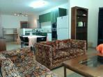 Overall view of large living/dining area