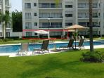 Groun Unit, directly in front of heated pool