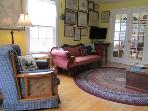 The living room at Sea Star Cottage in Port Mouton, Nova Scotia