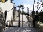 Private gates leading to Tre Mynach