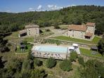 Aerial view of the two main houses of Monte di Rota
