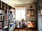 Studio and private library with art books, for creativity and soul.