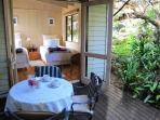 The garden room with its quiet private deck and peaceful, shaded garden surrounds. King or twins.