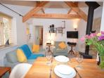 Lounge/kitchen/diner with woodburner