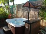 Bathe in the tranquility of your secluded 6-person hot tub