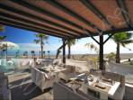 One of many restaurants at the Laguna Beach Village with spectacular sea views