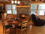 Newly renovated Dining room and remote control gas fireplace.