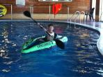KAYAKS in the pool   ---        Great fun for children !