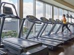 Huge fitness center with Technogym equipment: private TV and connected to internet
