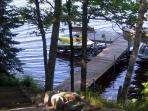 Stairs to the dock.. swim and play in the bay. We provide a kayak and paddle-boat.