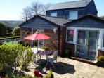 Cornwall, near Fowey - Poltor Cottage - Cottage patio (far reaching views Luxulyan Valley and sea)