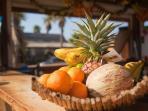 fruits, sain, plage, smoothie, jus de fruits frais