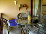 Dining area on Lanai overlooking the grounds