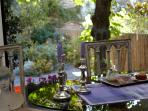 a french breakfast is served in the kitchen overlooking the garden