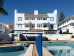 Second (top) floor apartment with views over swimming pools (for both adults and children)