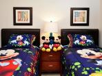 Twin bedroom #1 with optional Mickey bedding