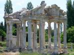 At Aphrodisias marvel over the ancient relics of the Tetrapylon, an original 2nd century gateway.