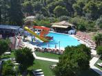 Kamares swimming pool with water slides, playground, bar & restaurant 3 minutes walk from house