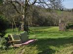 Swing seat in garden
