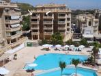 our apartment,134sqm,3 pools,bar, life guard, first aid, toilets, changing rroms, sun loungers